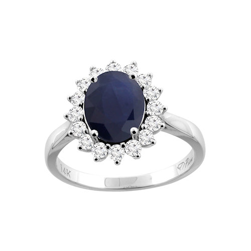 14K Gold Oval Blue Sapphire Diamond Accented Ring