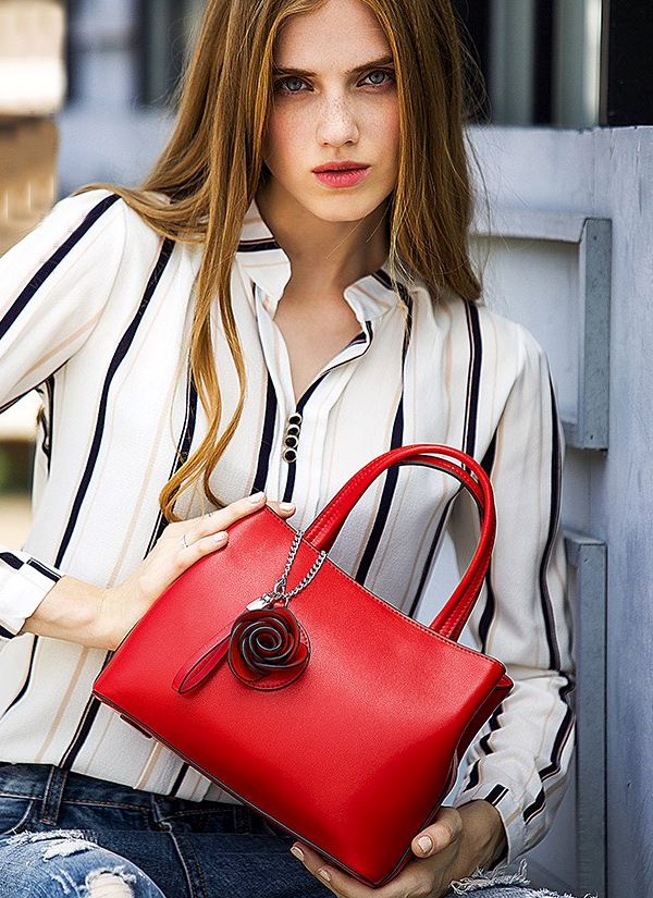 Rose Accented Red Leather Handbag
