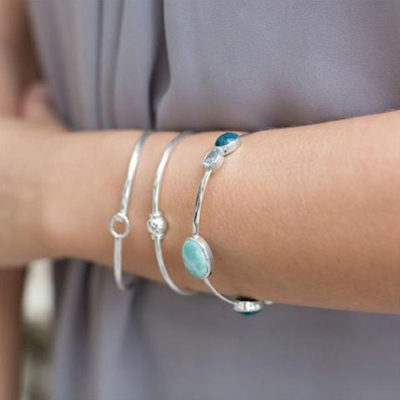 Sterling Silver Multistone Stackable Bangle
