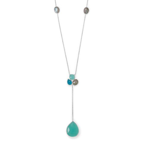 Chalcedony, Green Jade and Labradorite Necklace