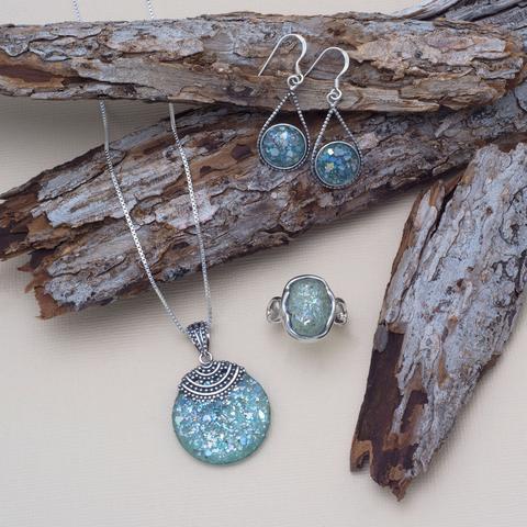Sterling Silver Roman Glass Drop Earrings