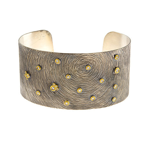 Silver Yellow Gold and Diamond Accented Cuff