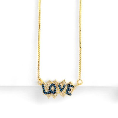 18K Gold Plated Blue Love Pave' Necklace