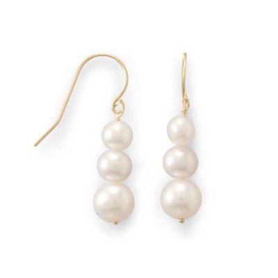 14K Gold Stacked Cultured Freshwater Pearl French Wire Earrings