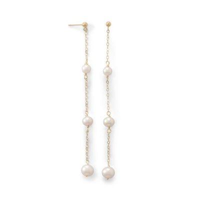 14K Gold 3 Cultured Freshwater Pearl Drop Post Earrings