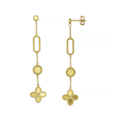 14K Yellow Gold Circle and Flower Dangling Earrings