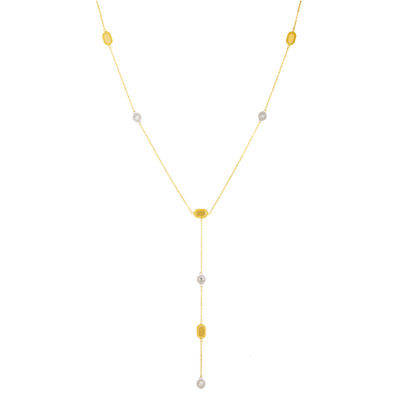 14K 2-Tone Gold Diamond Accented Ovals and Circles Necklace