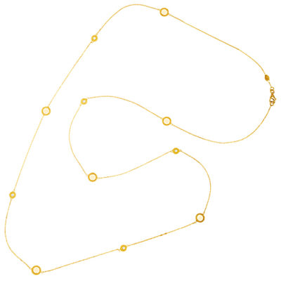14K Y/Gold Diamond Accented Circles Station Necklace