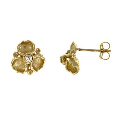 14K Yellow Gold Diamond Accented Flower Earrings