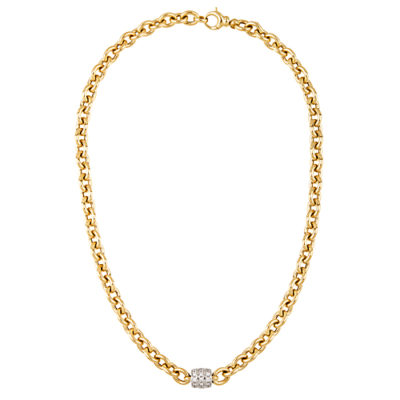 14K Yellow Gold Diamond Accented Oval Links