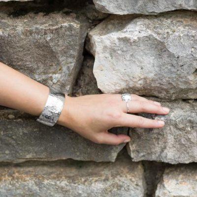 Sterling Silver 1.25″ Hammered Cuff Bracelet