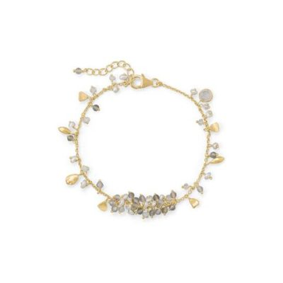 14K Gold Plated Rainbow Moonstone, Labradorite and Pearl Bracelet