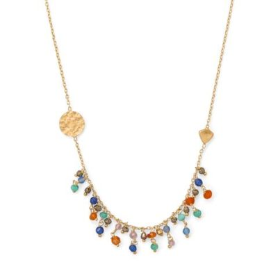 14K Gold Plated Multi-Stone Necklace