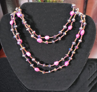 Dyed Fresh Water Pearl, Crystal Glass And Seed Bead Necklace