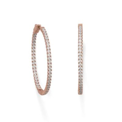 14K Rose Gold Plated Oval In/Out CZ Hoop Earrings