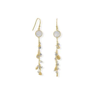 14K Gold Plated Rainbow Moonstone, Labradorite and Pearl Drop Earring
