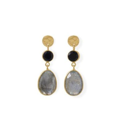 14K Gold Plated Black Onyx and Labradorite Post Earring