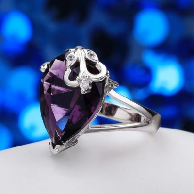 Pear Cut Amethyst 18K White Gold Plated Ring