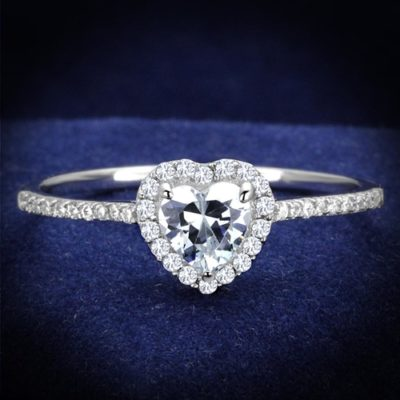 Rhodium Plated 925 Sterling Silver AAA CZ Ring
