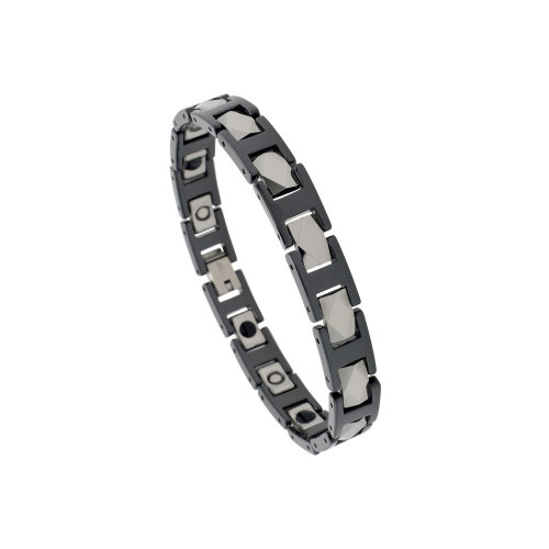 2-Tone Black & Gun Metal Tungsten & Ceramic Magnetic Therapy Bracelet in Men;s Collection.