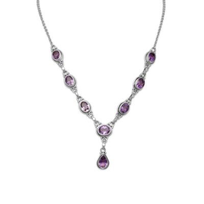 15″+1″ Extension Oval and Pear Shape Amethyst Necklace