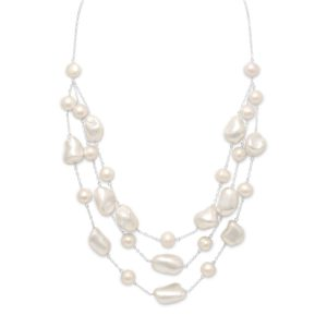 16″+2″ Extension Graduated Shell and Cultured Freshwater Pearl Necklace