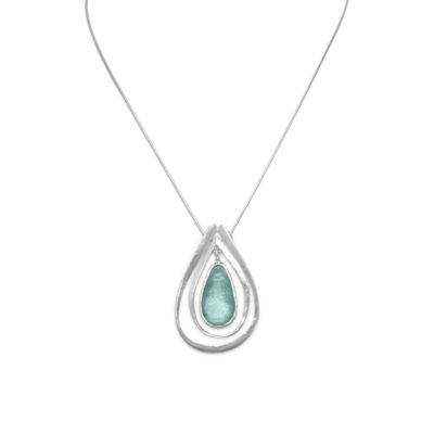 18″ Necklace with Ancient Roman Glass and Cut Out Design Pendant