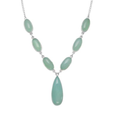 17.5″ Green Chalcedony Necklace