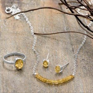 Faceted Citrine Bead Necklace – November Birthstone