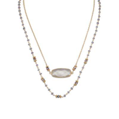 14 Karat Gold Plated Double Strand Tanzanite and Quartz Necklace
