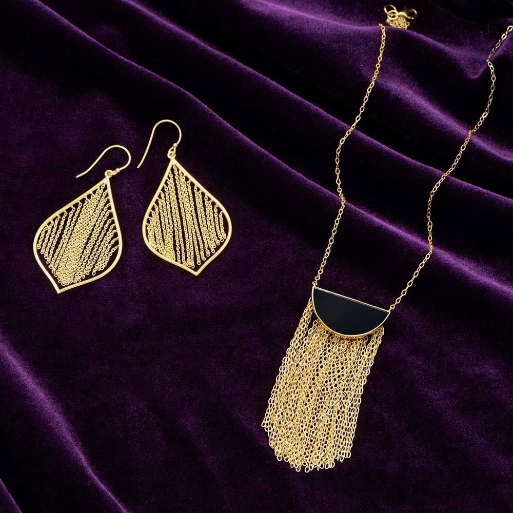 14K Gold Plated Black Onyx & Fringe Necklace