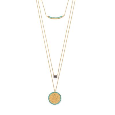 17″/30″ 3 Strand Amazonite and Labradorite Necklace