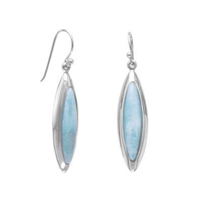 Rhodium Plated Marquise Larimar Earrings