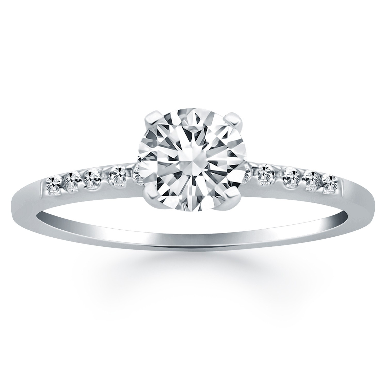 4K White Gold Diamond Band Engagement Ring