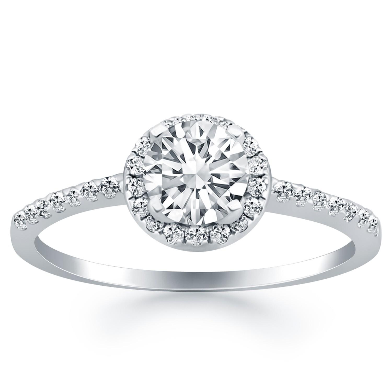 14K White Gold Diamond Halo Collar Engagement Ring