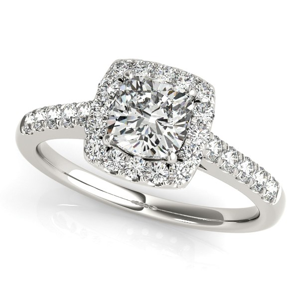 14K White Gold Square Outer Shape Round Diamond Engagement Ring in Ladies Engagement Rings.