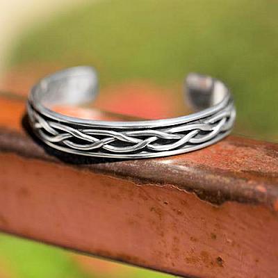 Oxidized Braided Men's Cuff Bracelet