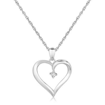 Sterling Silver Diamond Embellished Open Heart Pendant