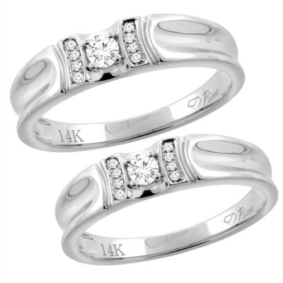 14K White Gold His & Her Diamond Wedding Bands Set