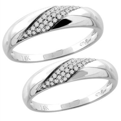 14K White Gold 2-PC Diamond Wedding Ring Set