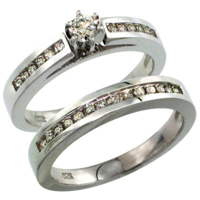 14K White Gold 2-Piece Diamond Engagement Ring & Band