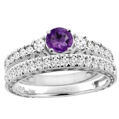 14K Gold Diamond & Amethyst 2-PC Wedding Ring Set