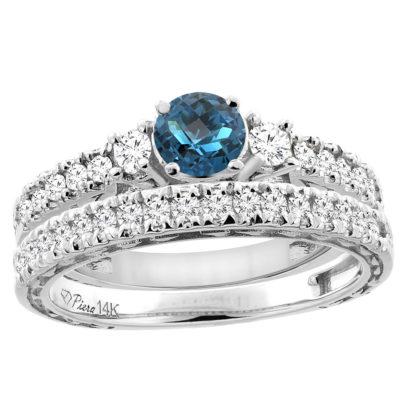 14K Gold Diamond & London Blue Topaz Engagement Ring Set