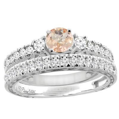 14K Gold Diamond Morganite 2-PC Wedding Ring Set