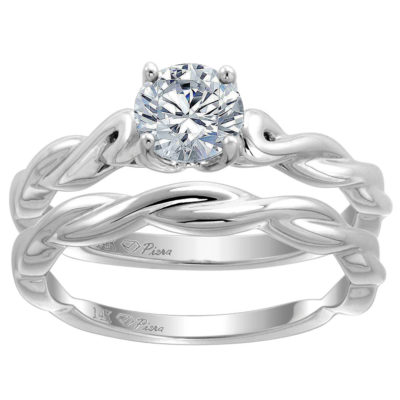 14K White Gold 0.74 CTW Diamond Solitaire Twisted Shank Engagement 2-PC Set