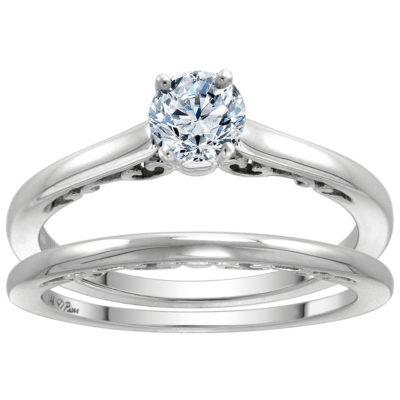 14K Gold 0.25 CTW Diamond Solitaire Engagement 2PC Ring Set
