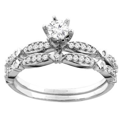 14K Gold 0.54 CTTW Round Diamond 2-Piece Bridal Ring Set
