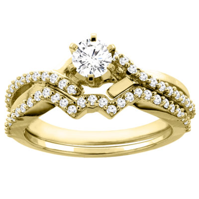 14K Gold 0.60 CTTW Round Diamond 2-piece Bridal Ring Set